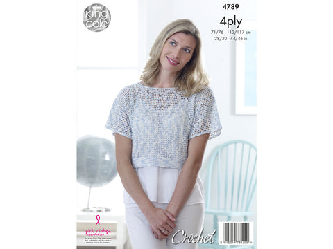 Lady's Crochet Tops in King Cole Giza Cotton Sorbet 4 Ply Kit