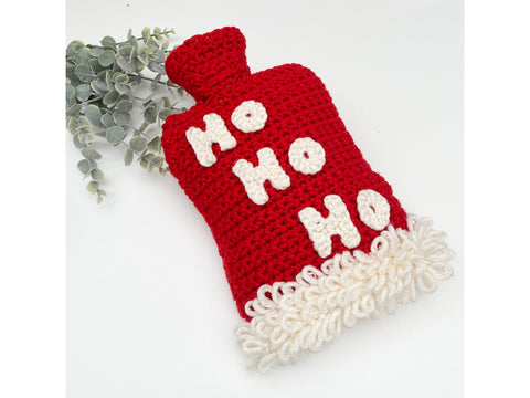 Ho Ho Hot Water Bottle Cover Crochet Kit and Pattern in Deramores Yarn