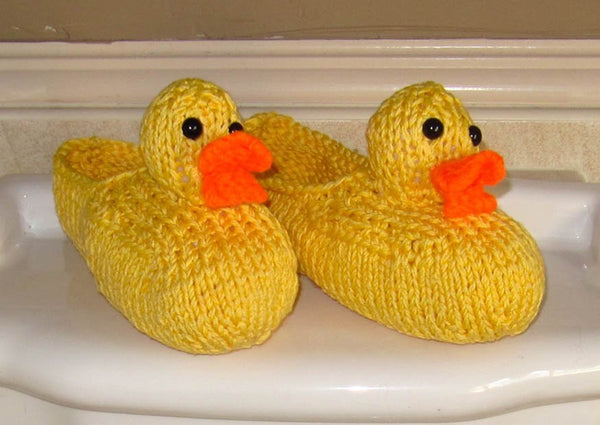 Rubber Duck Bathroom Slippers by MadMonkeyKnits (465) - Digital Version