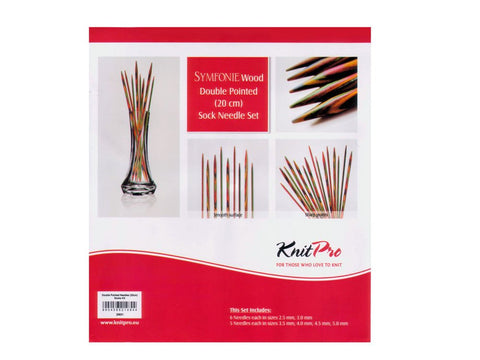 Knit Pro Symfonie Wood Double Point Sock Knitting Needle Set - 20.00cm (Set of 6)-Deramores