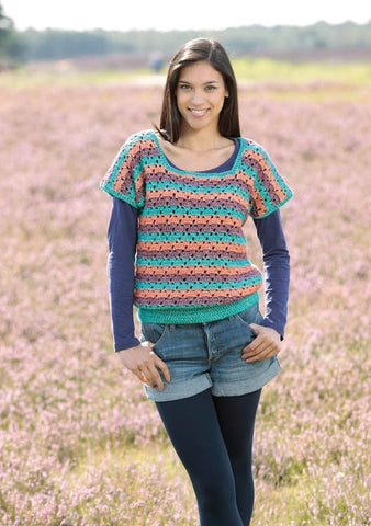 Crochet Multicolour Pullover In Scheepjes Stone Washed XL - Digital Version-Deramores