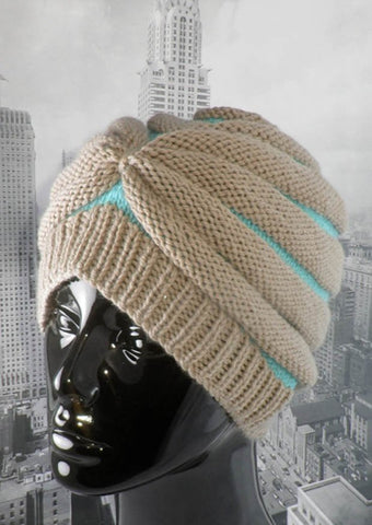 Stripe Beehive Turban Hat by MadMonkeyKnits (522) - Digital Version