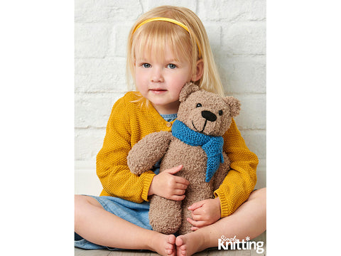 Simply Knitting Teddy Bear in Sirdar Snuggly Snowflake DK
