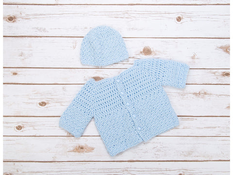 Textured Cardigan and Beanie in Deramores Studio Baby DK