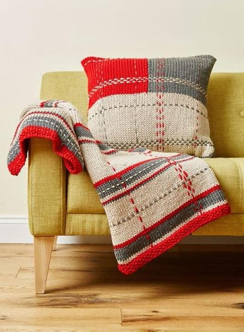 Tartan Throw and Cushion Kit in Deramores Studio Chunky