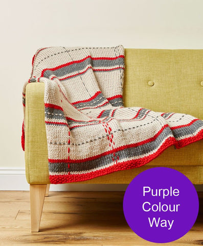 Deramores Studio Chunky Tartan Throw and Cushion Colour Pack – Purple-Deramores