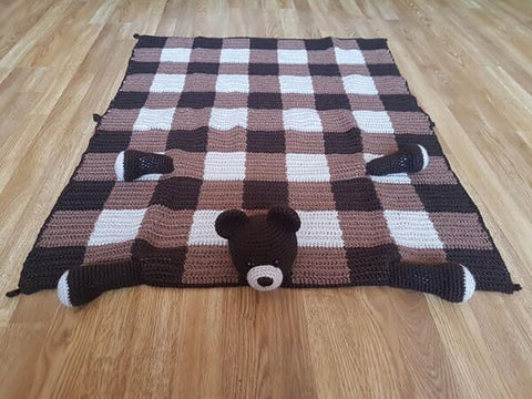 3 in 1 Woodland Bear Baby Blanket Crochet Kit and Pattern in Stylecraft Yarn