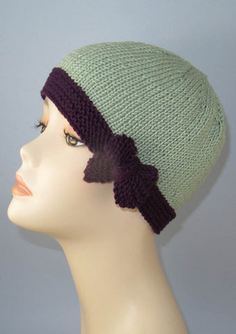 Tie Up Bow Beanie Hat by MadMonkeyKnits (868) - Digital Version