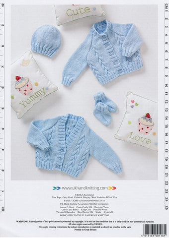 Cardigans, Bootees and Hat in DK (UKHKA118)-Deramores