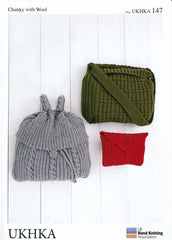 Rucksack, Envelope Bag and Tote Bag in Chunky with Wool (UKHKA147)