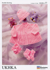Matinee Coat, Bonnet, Bootees and Mittens in DK (UKHKA37)