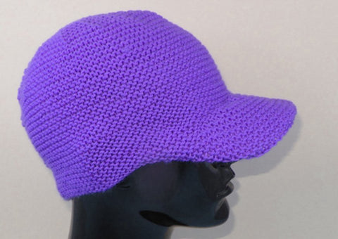 Unisex Curve Peak Garter Stitch Cap by MadMonkeyKnits (977) - Digital Version