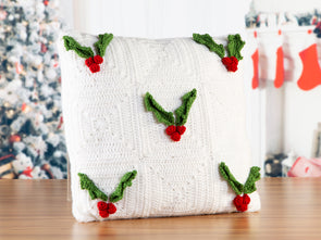 Holly Berry Cushion Crochet Kit and Pattern in Deramores Yarn