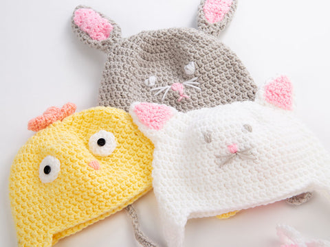 Trio Of Baby Animal Hats by Zoë Potrac in Deramores Studio Baby DK