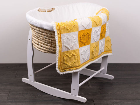 Bobble Stitch Love Heart Baby Blanket Crochet Kit and Pattern in Deramores Yarn