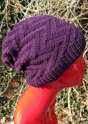 Zig Zag Slouch Hat by MadMonkeyKnits (510) - Digital Version