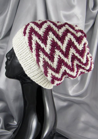 Zig Zag Stripe Slouch Hat by MadMonkeyKnits (491) - Digital Version