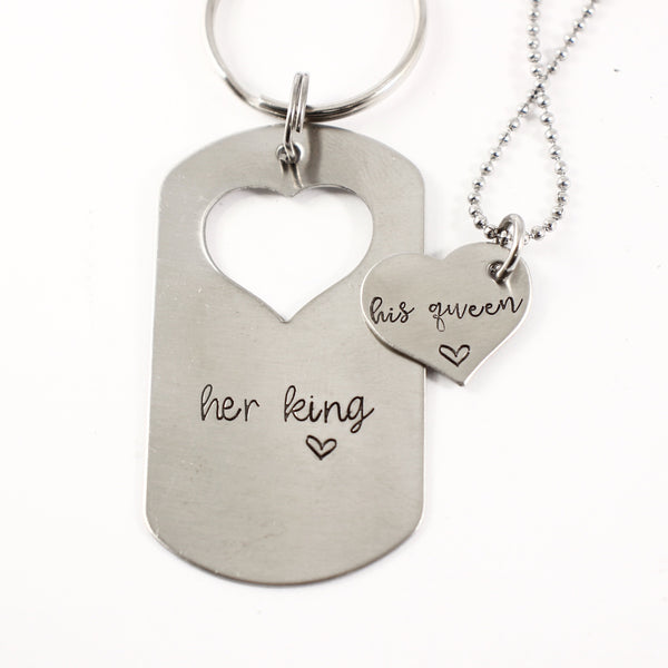 """Her King"" ""His Queen"" - dog tag set - Discounted and ready to ship"