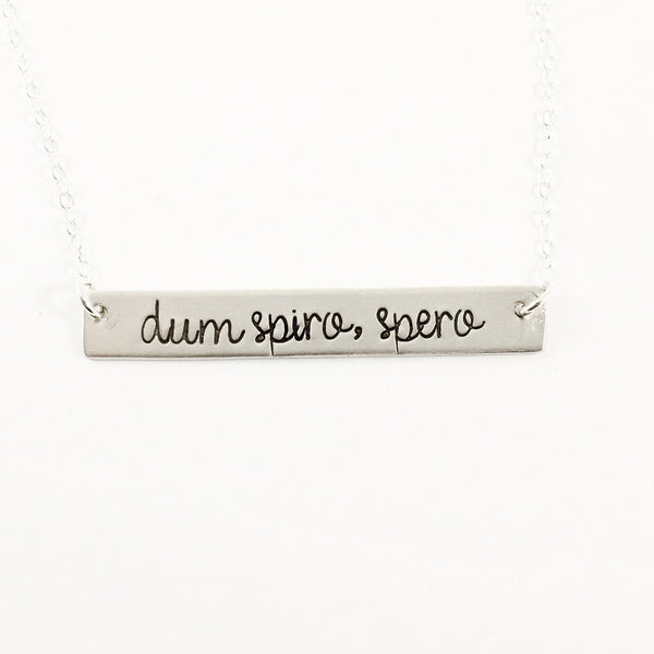"""dum spiro, spero"" Necklace - Sterling Silver or Gold Filled"