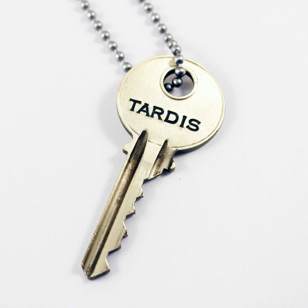 """TARDIS"" KEY - Doctor Who - Whovian necklace - Necklaces - Completely Hammered - Completely Wired"