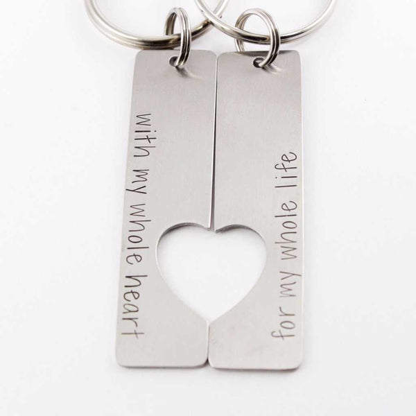 """For my whole heart for my whole life"" - Couples Keychain Set - Keychains - Completely Hammered - Completely Wired"