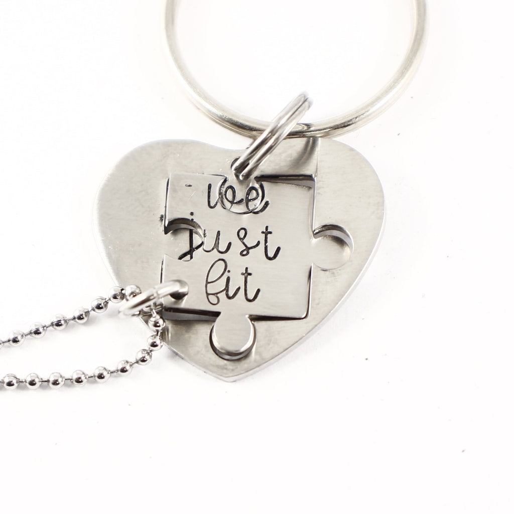 """We just fit"" Interlocking Puzzle piece necklace and keychain set (2 pieces) - Discounted and Ready to Ship"