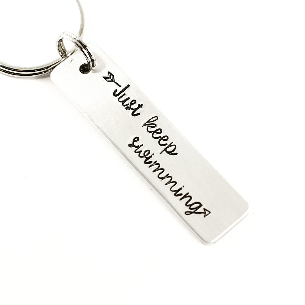 """Just keep swimming"" - Hand Stamped Keychain - Medium - Keychains - Completely Hammered - Completely Wired"