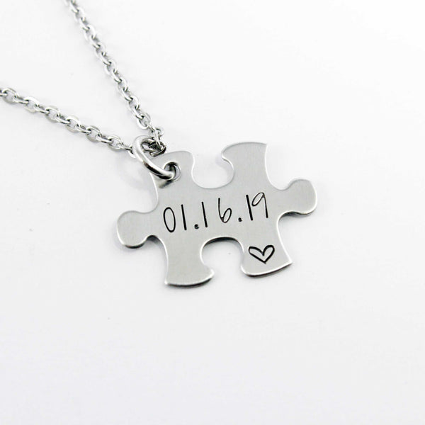 Additional puzzle piece with name, date or initials Charm Add-On / Keychain /  necklace - Add Ons - Completely Hammered - Completely Wired