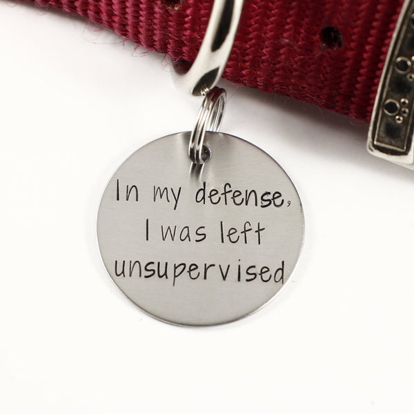 "1.25 inch ""In my defense, I was left unsupervised"" pet ID tag - PET ID TAGS - Completely Hammered - Completely Wired"