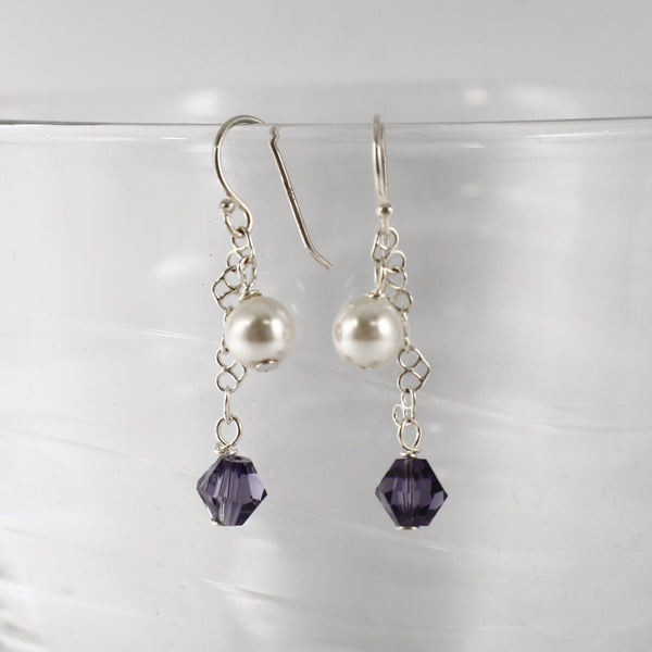Sterling silver and Swarovski Crystal/Pearl Earrings