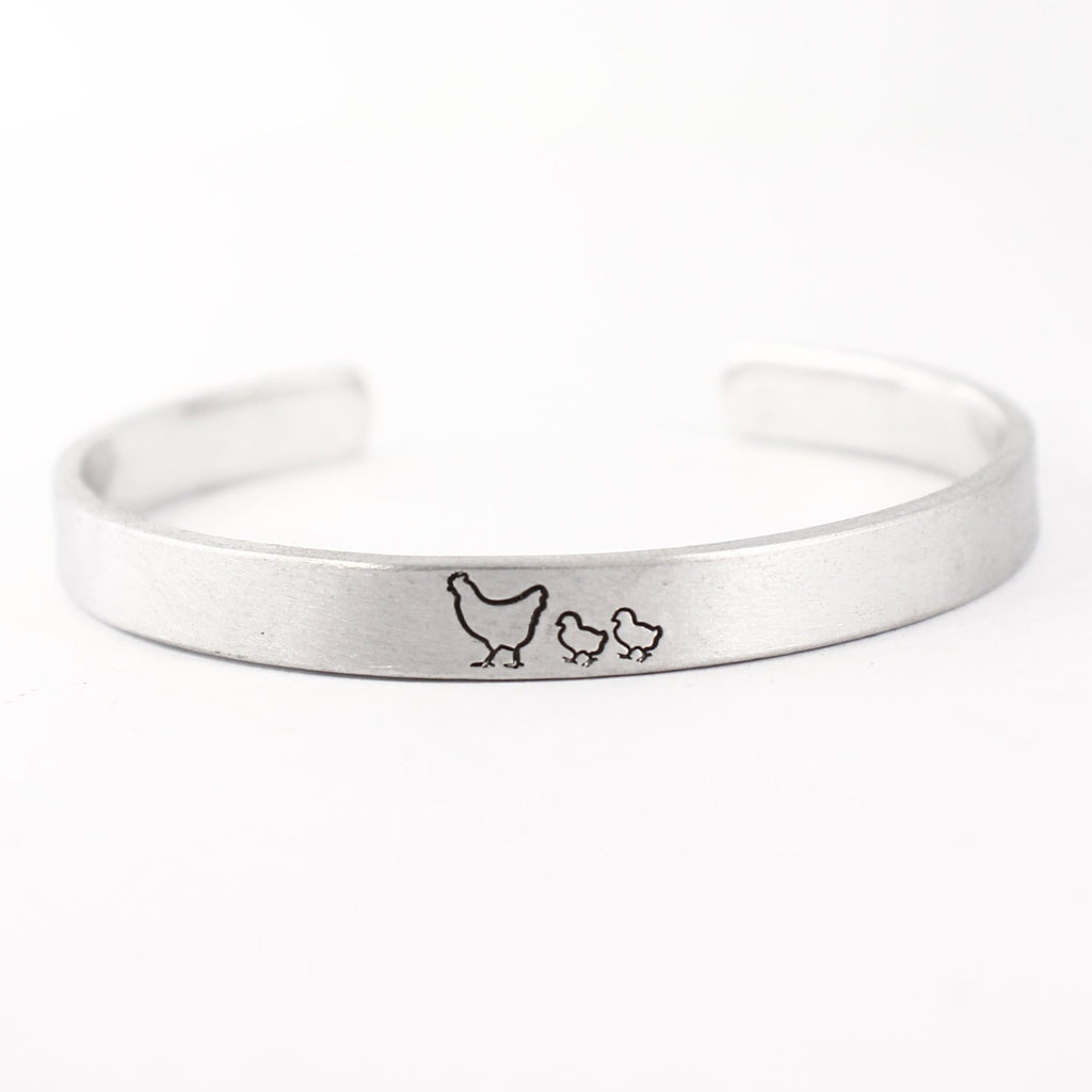 """Mother Hen"" Bracelet with your choice of 1-7 chicks - Your choice of metals"