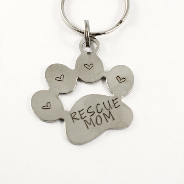 """Rescue Mom"" Stainless Steel keychain - Discounted and ready to ship"
