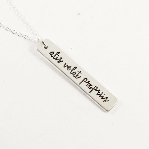 """Alis volat propriis"" (She flies with her own wings) Necklace / Charm - Sterling Silver, Gold Filled or Rose Gold Filled - Latin Collection"