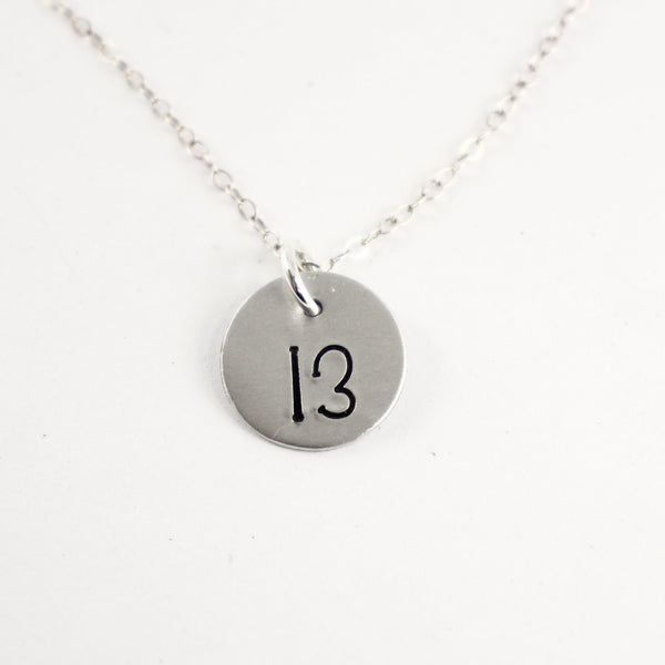 Lucky 13 Hand Stamped Sterling Silver, Gold Filled or Rose Gold-Filled Necklace / Charm - Necklaces - Completely Hammered - Completely Wired