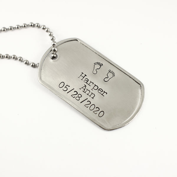 New Dad, Baby feet - Personalized, Dog Tag Necklace / keychain - Necklaces - Completely Hammered - Completely Wired