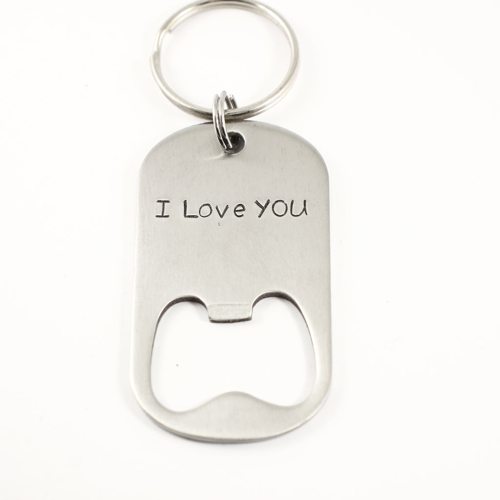 """I love you"" Bottle Opener Keychain - Discounted and ready to ship"