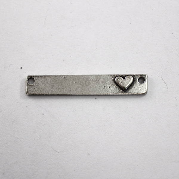 Pewter Rectangle with Raised Heart - Supply Destash