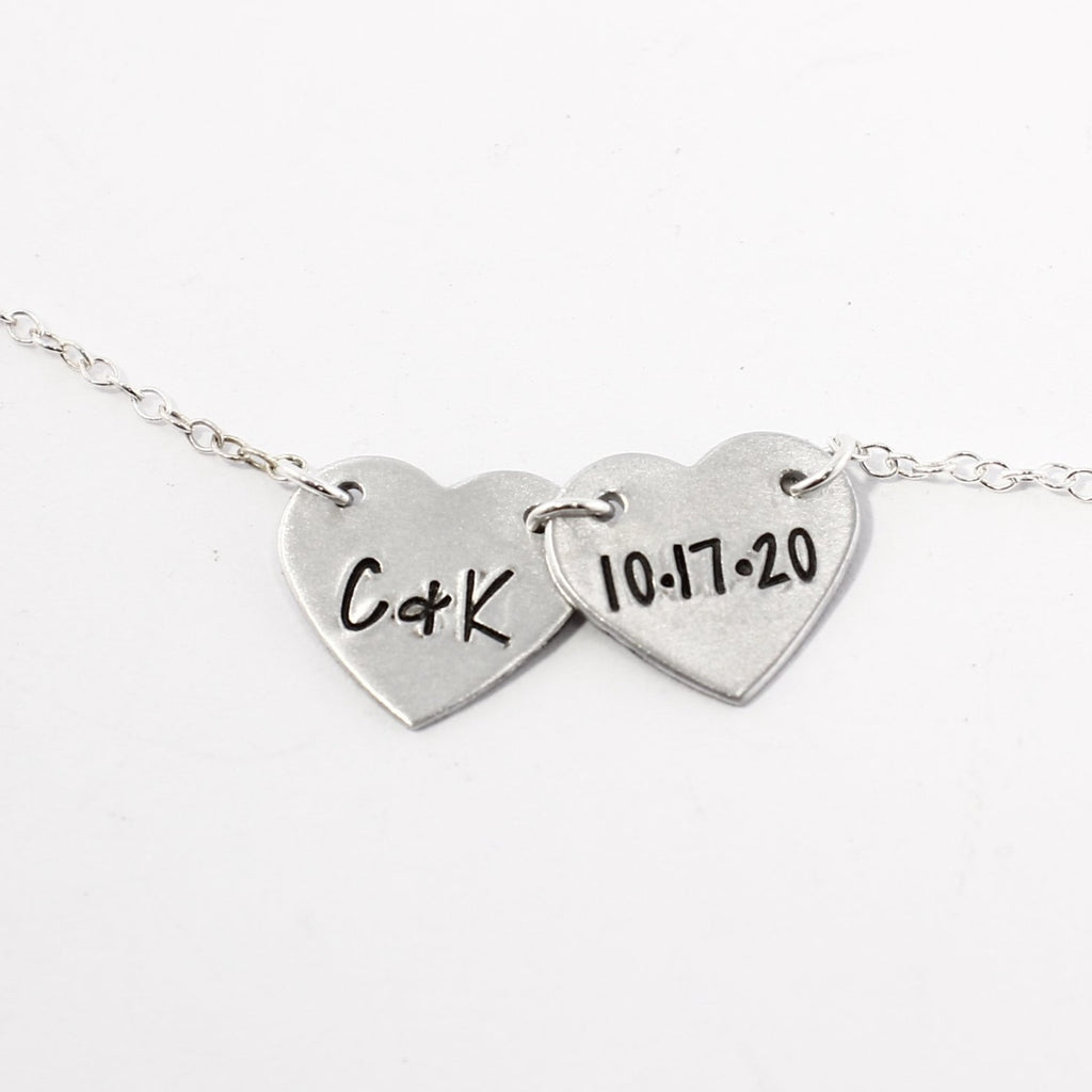 Heart Necklace 1-2 Hearts with initials - Sterling Silver