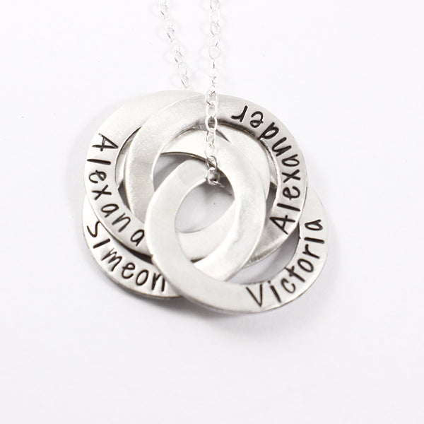 Four Ring Russian Ring Necklace - Can be personalized with your choice of text
