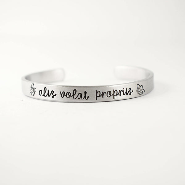 """Alis volat propriis"" - She flies with her own wings Cuff Bracelet - Your choice of metals - Cuff Bracelets - Completely Hammered - Completely Wired"