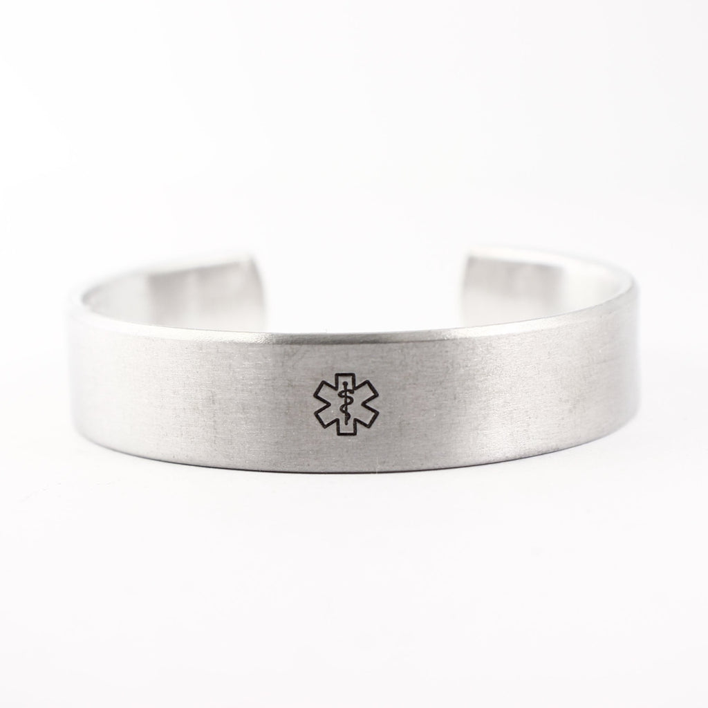 "Custom Medical Alert Cuff Bracelet - 1/2"" Wide Pure Aluminum or Stainless Steel"