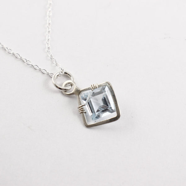 Sterling silver and Princess Cut Blue Topaz Necklace