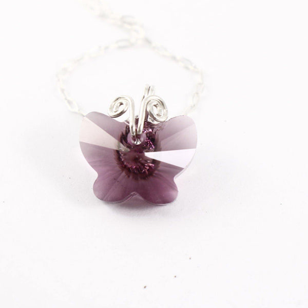 """Amethyst"" Swarovski and Sterling Silver Butterfly Charm - ready to ship sample"