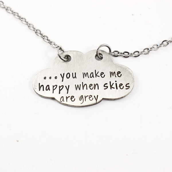 """You make me happy when skies are grey"" Cloud Necklace Set - READY TO SHIP"