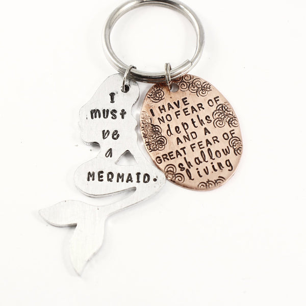 """I must be a mermaid"" Keychain - READY TO SHIP"