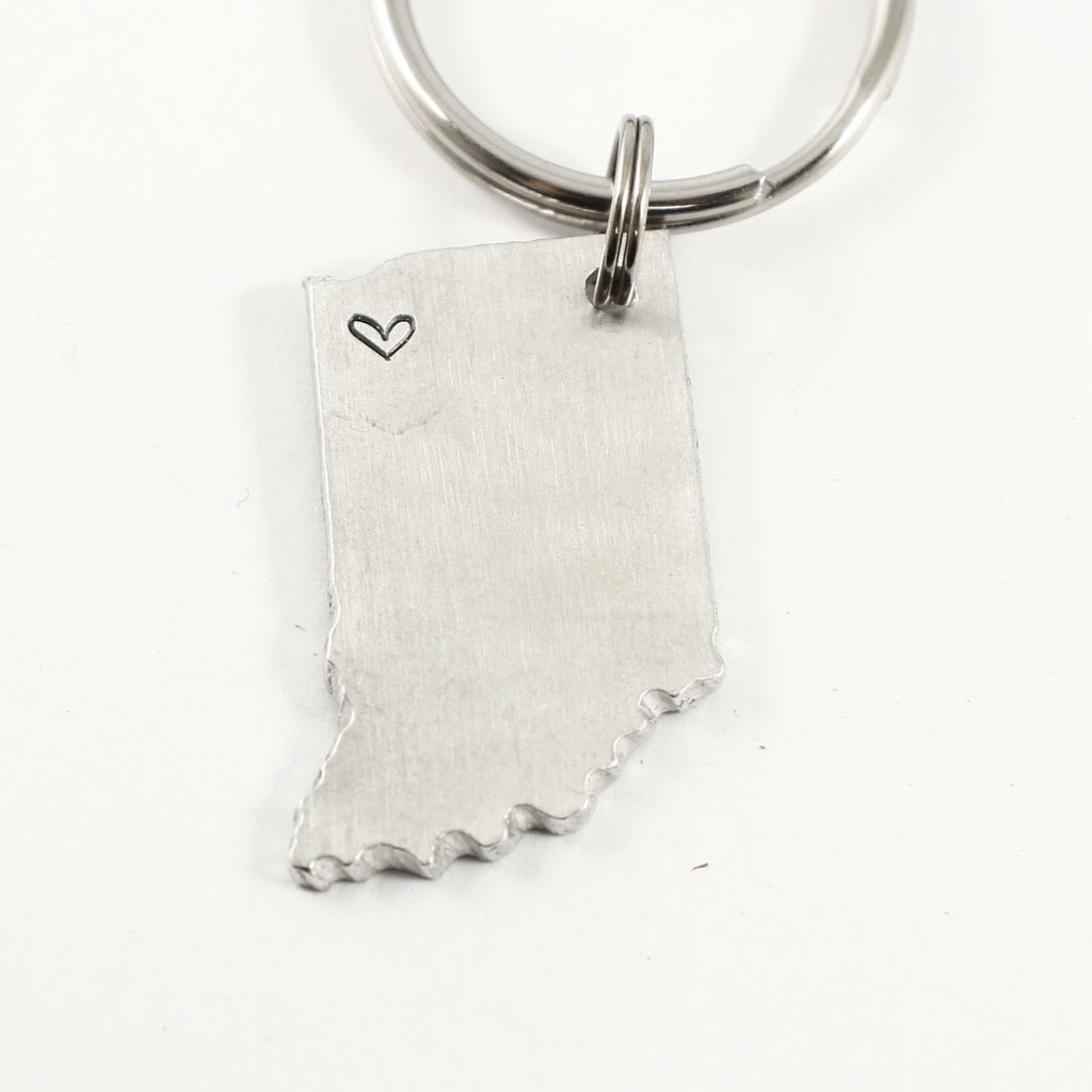 Northwest Indiana - Hand Stamped Indiana Keychain - ready to ship