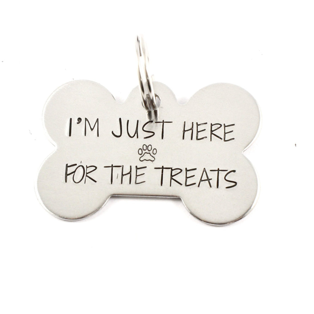 "Pet ID Tag -  ""I'm just here for the treats"" - Completely Hammered"