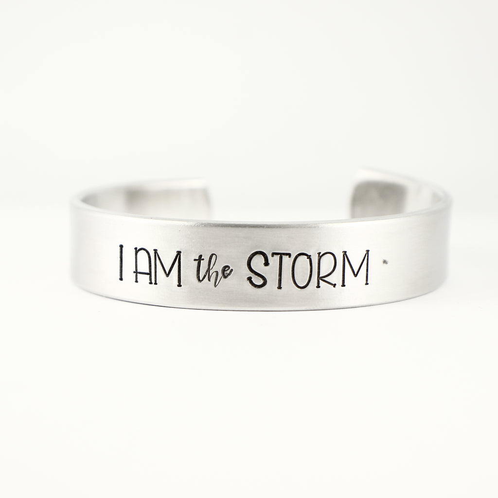 """I am THE STORM"" 1/2"" Cuff Bracelet - Cuff Bracelets - Completely Hammered - Completely Wired"