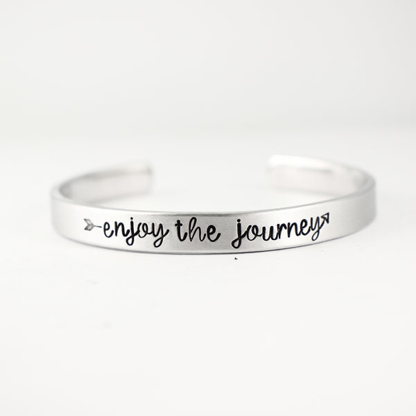 """enjoy the journey"" Cuff Bracelet - Your choice of metals - Cuff Bracelets - Completely Hammered - Completely Wired"
