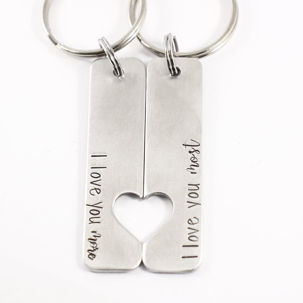"""I love you more"" & ""I love you most"" - Couples Keychain Set - Discounted and Ready to Ship"